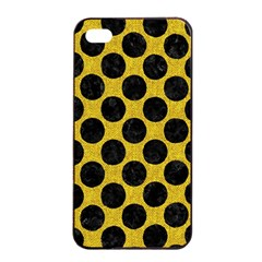 Circles2 Black Marble & Yellow Denim Apple Iphone 4/4s Seamless Case (black) by trendistuff