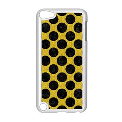 Circles2 Black Marble & Yellow Denim Apple Ipod Touch 5 Case (white) by trendistuff