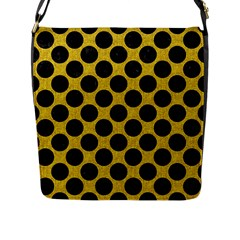 Circles2 Black Marble & Yellow Denim Flap Messenger Bag (l)  by trendistuff