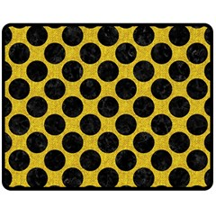 Circles2 Black Marble & Yellow Denim Double Sided Fleece Blanket (medium)  by trendistuff