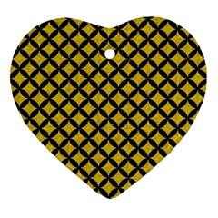 Circles3 Black Marble & Yellow Denim Ornament (heart) by trendistuff