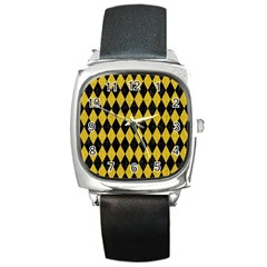 Diamond1 Black Marble & Yellow Denim Square Metal Watch by trendistuff
