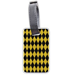 Diamond1 Black Marble & Yellow Denim Luggage Tags (one Side)  by trendistuff