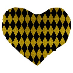 Diamond1 Black Marble & Yellow Denim Large 19  Premium Flano Heart Shape Cushions by trendistuff