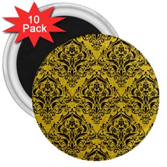 Damask1 Black Marble & Yellow Denim 3  Magnets (10 Pack)  by trendistuff