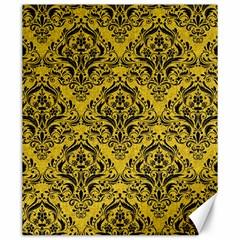 Damask1 Black Marble & Yellow Denim Canvas 20  X 24   by trendistuff