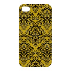 Damask1 Black Marble & Yellow Denim Apple Iphone 4/4s Hardshell Case by trendistuff