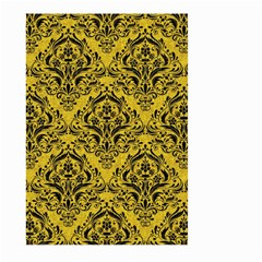 Damask1 Black Marble & Yellow Denim Large Garden Flag (two Sides) by trendistuff
