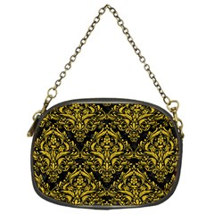 Damask1 Black Marble & Yellow Denim (r) Chain Purses (one Side)  by trendistuff