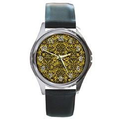 Damask2 Black Marble & Yellow Denim Round Metal Watch