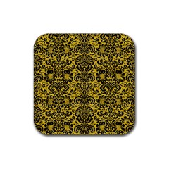 Damask2 Black Marble & Yellow Denim Rubber Square Coaster (4 Pack)  by trendistuff