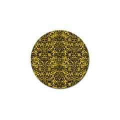 Damask2 Black Marble & Yellow Denim Golf Ball Marker by trendistuff
