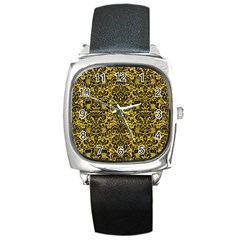 Damask2 Black Marble & Yellow Denim Square Metal Watch by trendistuff