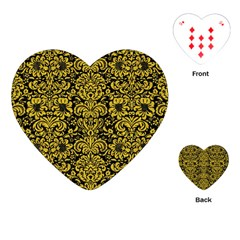 Damask2 Black Marble & Yellow Denim (r) Playing Cards (heart)  by trendistuff
