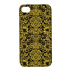 Damask2 Black Marble & Yellow Denim (r) Apple Iphone 4/4s Hardshell Case With Stand by trendistuff