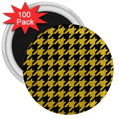 Houndstooth1 Black Marble & Yellow Denim 3  Magnets (100 Pack) by trendistuff