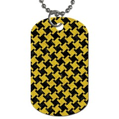 Houndstooth2 Black Marble & Yellow Denim Dog Tag (two Sides) by trendistuff