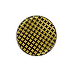 Houndstooth2 Black Marble & Yellow Denim Hat Clip Ball Marker (10 Pack) by trendistuff