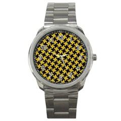 Houndstooth2 Black Marble & Yellow Denim Sport Metal Watch by trendistuff