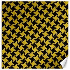 Houndstooth2 Black Marble & Yellow Denim Canvas 20  X 20   by trendistuff