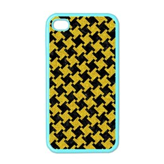 Houndstooth2 Black Marble & Yellow Denim Apple Iphone 4 Case (color) by trendistuff