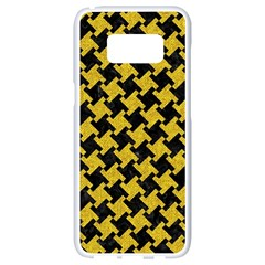 Houndstooth2 Black Marble & Yellow Denim Samsung Galaxy S8 White Seamless Case by trendistuff