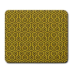 Hexagon1 Black Marble & Yellow Denim Large Mousepads by trendistuff