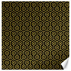 Hexagon1 Black Marble & Yellow Denim (r) Canvas 16  X 16   by trendistuff