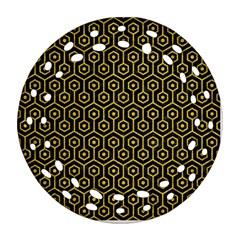 Hexagon1 Black Marble & Yellow Denim (r) Ornament (round Filigree) by trendistuff