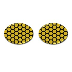 Hexagon2 Black Marble & Yellow Denim Cufflinks (oval) by trendistuff
