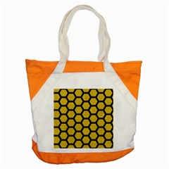 Hexagon2 Black Marble & Yellow Denim Accent Tote Bag by trendistuff