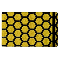 Hexagon2 Black Marble & Yellow Denim Apple Ipad 3/4 Flip Case by trendistuff