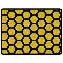 Hexagon2 Black Marble & Yellow Denim Double Sided Fleece Blanket (large)  by trendistuff