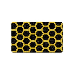 Hexagon2 Black Marble & Yellow Denim (r) Magnet (name Card) by trendistuff