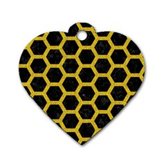 Hexagon2 Black Marble & Yellow Denim (r) Dog Tag Heart (two Sides) by trendistuff