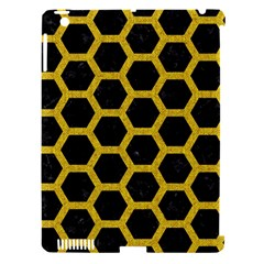 Hexagon2 Black Marble & Yellow Denim (r) Apple Ipad 3/4 Hardshell Case (compatible With Smart Cover) by trendistuff