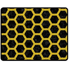 Hexagon2 Black Marble & Yellow Denim (r) Double Sided Fleece Blanket (medium)  by trendistuff