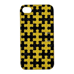 Puzzle1 Black Marble & Yellow Denim Apple Iphone 4/4s Hardshell Case With Stand by trendistuff