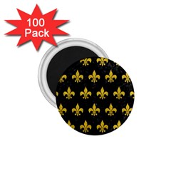 Royal1 Black Marble & Yellow Denim 1 75  Magnets (100 Pack)  by trendistuff