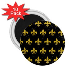 Royal1 Black Marble & Yellow Denim 2 25  Magnets (10 Pack)  by trendistuff