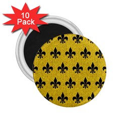 Royal1 Black Marble & Yellow Denim (r) 2 25  Magnets (10 Pack)  by trendistuff