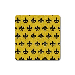Royal1 Black Marble & Yellow Denim (r) Square Magnet