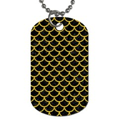 Scales1 Black Marble & Yellow Denim (r) Dog Tag (one Side) by trendistuff