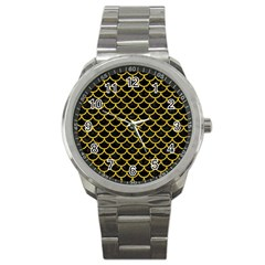 Scales1 Black Marble & Yellow Denim (r) Sport Metal Watch by trendistuff