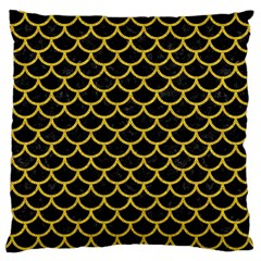 Scales1 Black Marble & Yellow Denim (r) Large Cushion Case (two Sides) by trendistuff