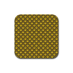 Scales2 Black Marble & Yellow Denim Rubber Square Coaster (4 Pack)  by trendistuff