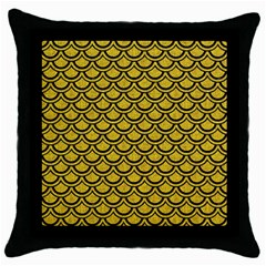 Scales2 Black Marble & Yellow Denim Throw Pillow Case (black) by trendistuff