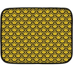 Scales2 Black Marble & Yellow Denim Fleece Blanket (mini) by trendistuff