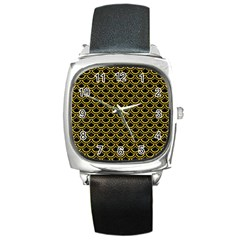 Scales2 Black Marble & Yellow Denim (r) Square Metal Watch by trendistuff