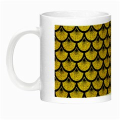Scales3 Black Marble & Yellow Denim Night Luminous Mugs by trendistuff